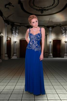 שמלת ערב כחולה רקומה