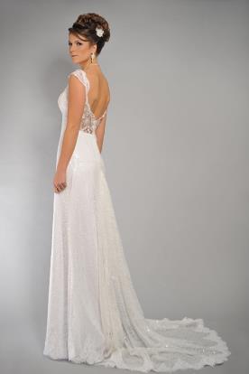 שמלת כלה מנצנצת עם גב תחרה