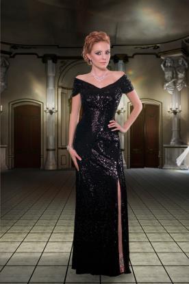 שמלת ערב שחורה חרוזים