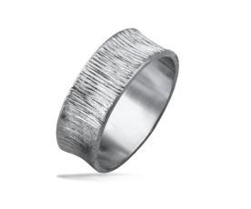 טבעת נישואין זהב לבן ריקוע לאורך