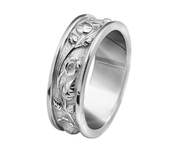 טבעת נישואין פרחונית זהב לבן