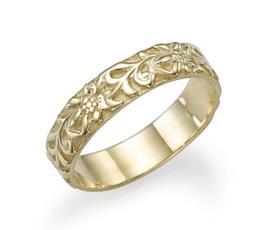 טבעת נישואין בעיצוב פרחוני