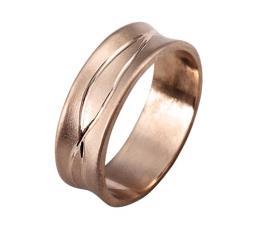 טבעת נישואין זהב אדום עם חריטה
