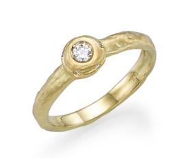 טבעת אירוסין זהב צהוב יהלום עגול
