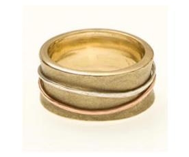 טבעת נישואין קעורה שלושה צבעים