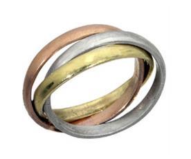 טבעת נישואין זהב בשלושה צבעים