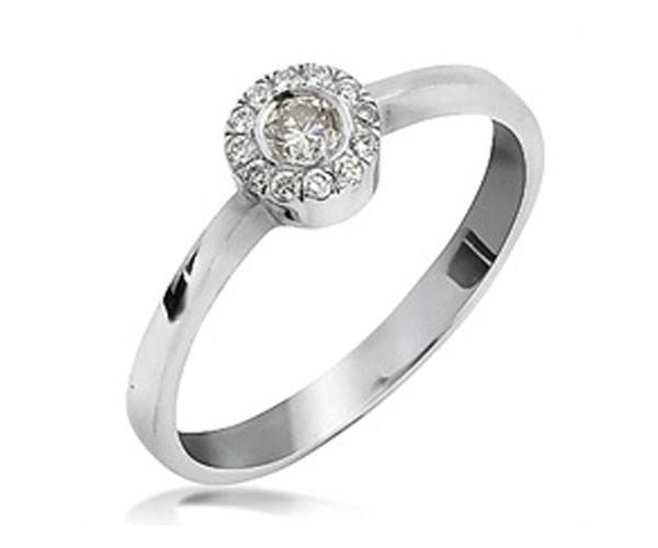טבעת אירוסין יהלומים בעיגול