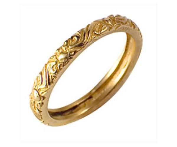טבעת נישואין פרחונית צרה