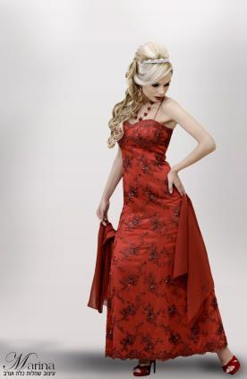 שמלת ערב מקסי אדומה