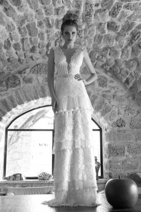 שמלת כלה וינטג' קומות וחגורה