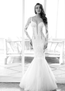 שמלת כלה בדגם בת ים בשילוב תחרה בצדדים