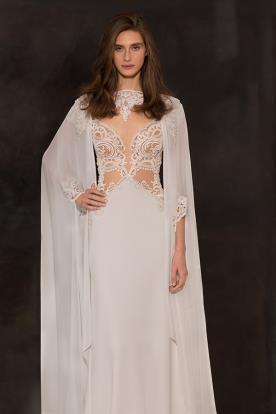 שמלת כלה עם עליונית שיפון שרוול