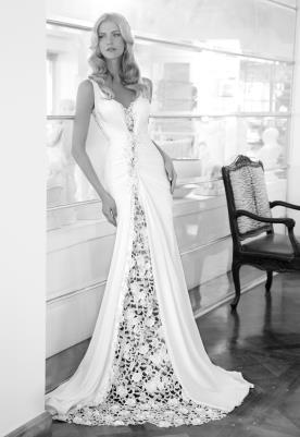 שמלת כלה משיפון עם כיווצים