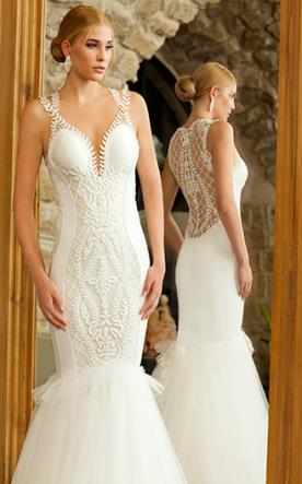 שמלת כלה בשילוב תחרה וחרוזים