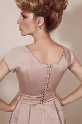 שמלת כלה ורודה גב מכופתר