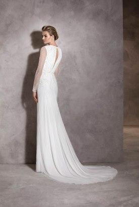 שמלת כלה שרוולי שיפון ארוכים