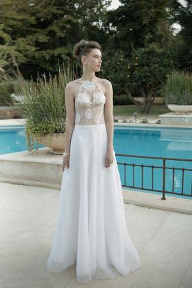 שמלת כלה תחרה פרחונית