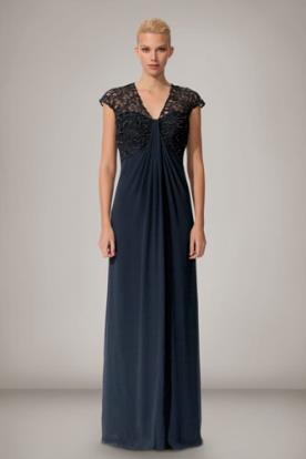 שמלת ערב משיפון משולבת תחרה
