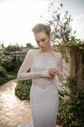 שמלת כלה חורפית חשופת כתפיים