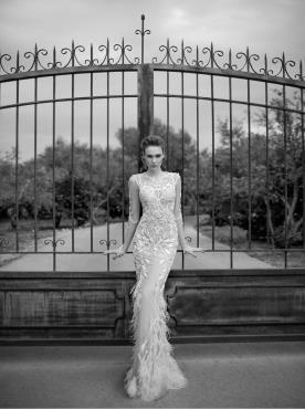 שמלת כלה הוט קוטור בגווני ניוד לבן