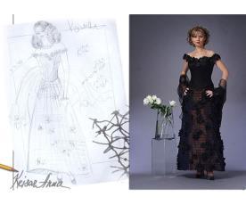 שמלת ערב שחורה עם פרחים
