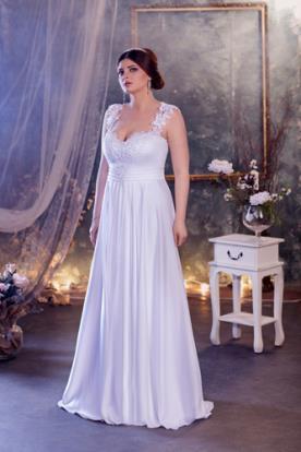 שמלת כלה ממשי כתפיות רחבות