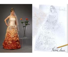 שמלת כלה כתומה ורודה