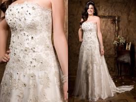 שמלת כלה קרם עם אבנים וחרוזים
