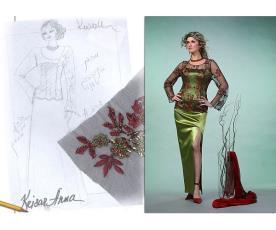 שמלת ערב ירוקה טופ תחרה אדום