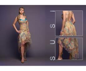 שמלת ערב צבעונית מיני