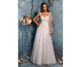 שמלת כלה לבנה כתפיות דקות