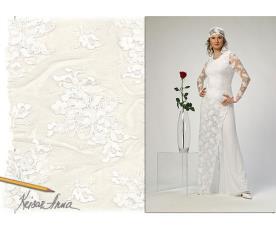 שמלת כלה צנועה תחרה לבנה