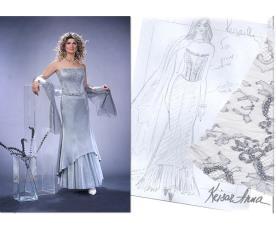 שמלת ערב אפורה חצאית שכבות