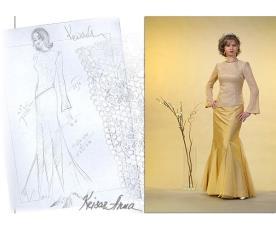 שמלת ערב צנועה צהובה