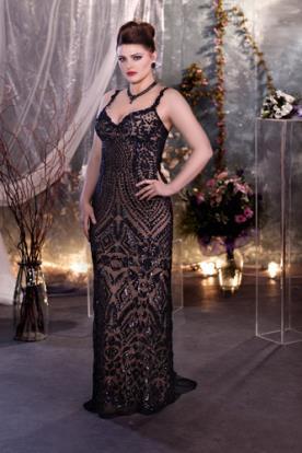 שמלת ערב שחורה מחורזת