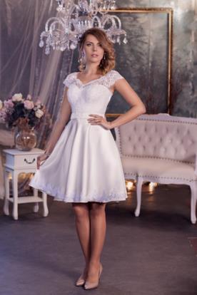 שמלת כלה מיני משי ותחרה