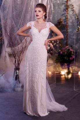 שמלת כלה עם דוגמת חרוזים