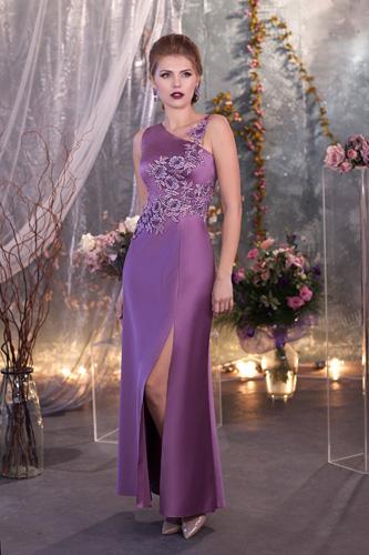 שמלת ערב סגולה אסימטרית