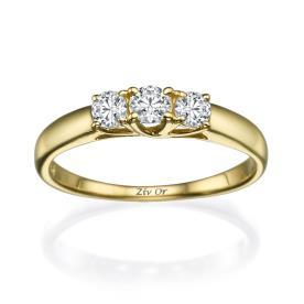טבעת עדינה עם שלושה יהלומים