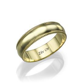 טבעת נישואין עם שוליים מעוטרים