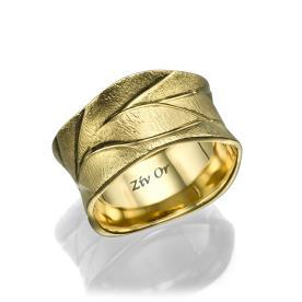 טבעת נישואין מזהב עם חריטות
