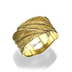 טבעת זהב מחוספסת עם נצנוץ