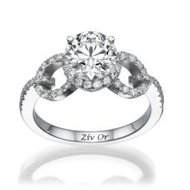 טבעת יהלומים בעיצוב עכשווי