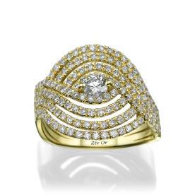 טבעת יהלום בעיצוב גלי