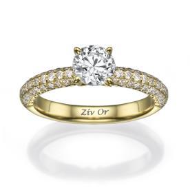 טבעת אירוסין עבה משובצת