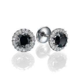עגילים צמודים משובצים יהלום שחור