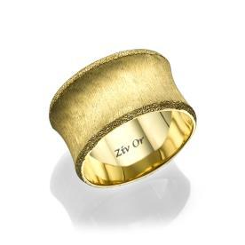טבעת נישואין עם שוליים מעוקלים