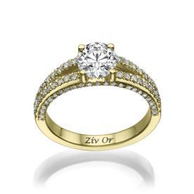 טבעת קלאסית משובצת עם יהלום