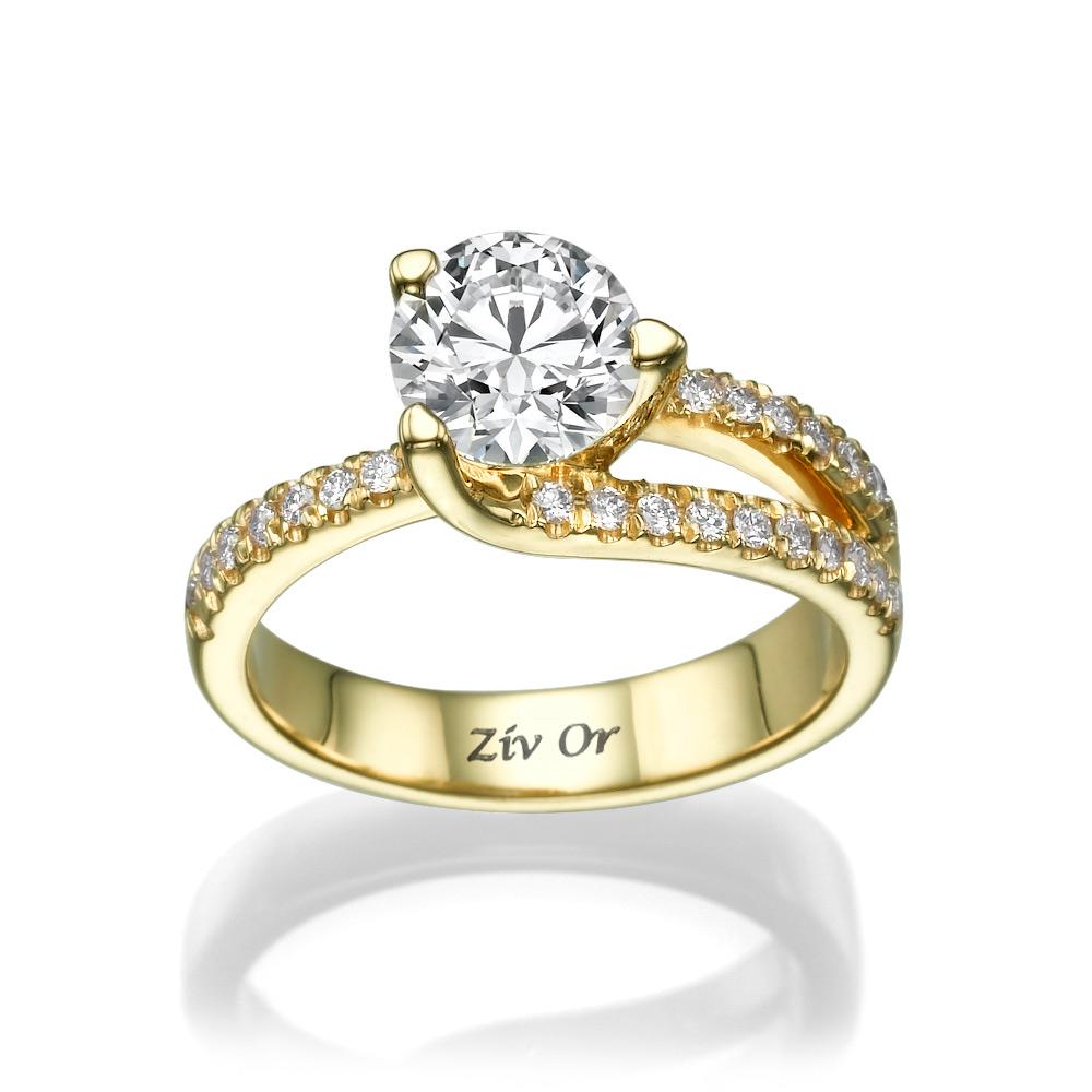 טבעת סוליטייר אסימטרית