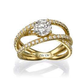 טבעת אירוסין אלגנטית מזהב צהוב